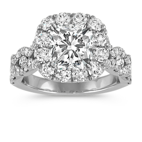 Cushion Halo Swirl Diamond Engagement Ring