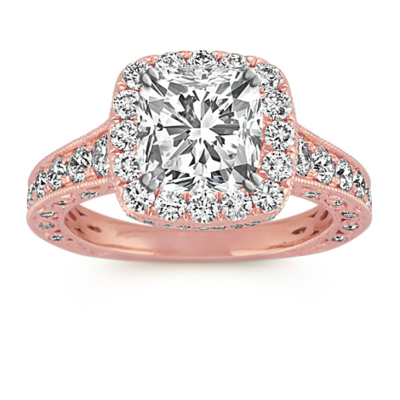 Halo Vintage Round Diamond Engagement Ring with Pave-Setting in Rose Gold