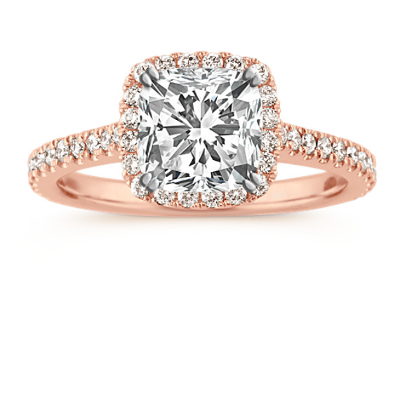 Halo Diamond Engagement Ring for 1.50 Carat Cushion Cut in 14k Rose Gold