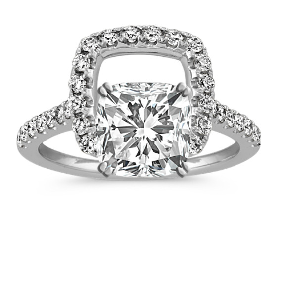 Cushion Halo Round Diamond Engagement Ring in 14k White Gold