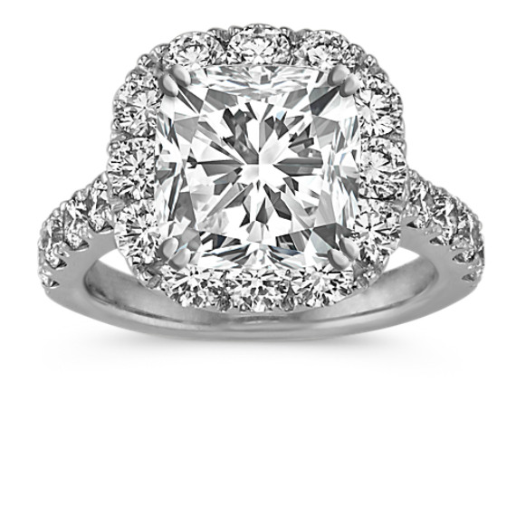 Cushion Halo Engagement Ring with Round Diamond Accent in 14k White Gold