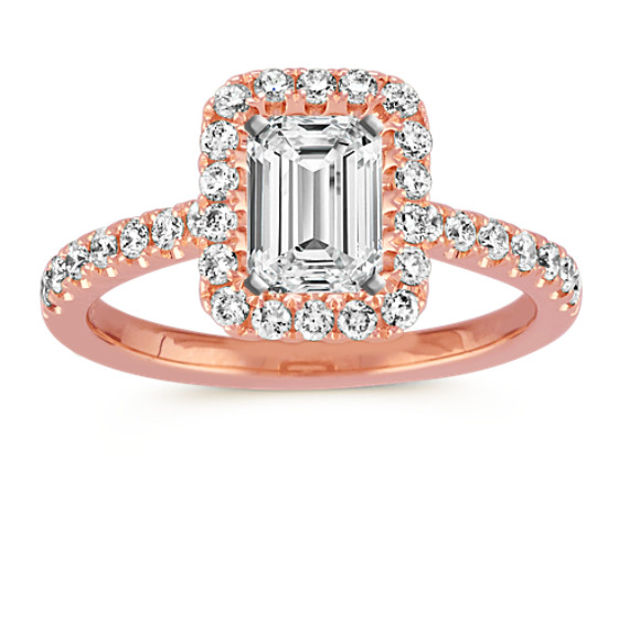 Emerald Halo Diamond Engagement Ring in 14k Rose Gold