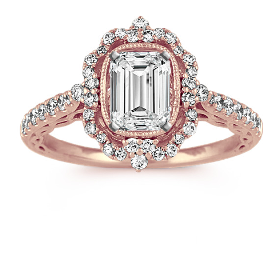 Vintage Diamond Halo Engagement Ring in 14k Rose Gold
