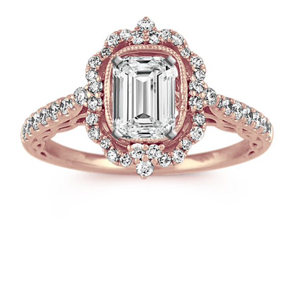 Vintage Diamond Halo Engagement Ring in 14k Rose Gold