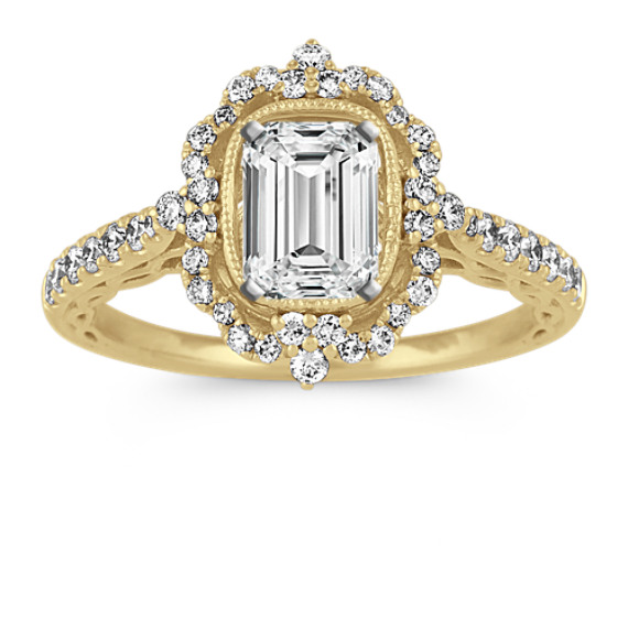 Vintage Frame Diamond Halo Engagement Ring in 14k Yellow Gold