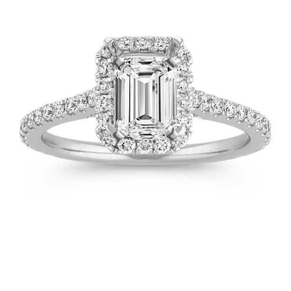 Halo Diamond Engagement Ring for 1.00 Carat Emerald Cut
