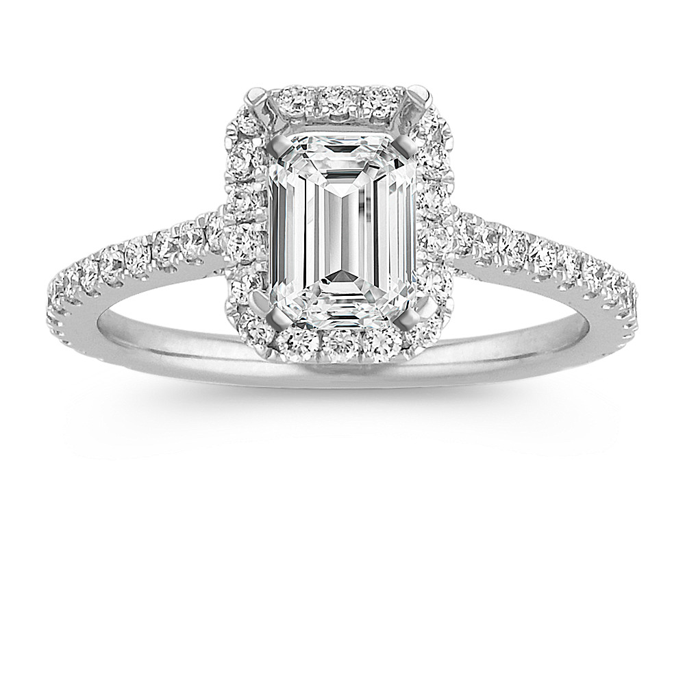 Halo Diamond Engagement Ring For 1 00 Carat Emerald Cut Shane Co