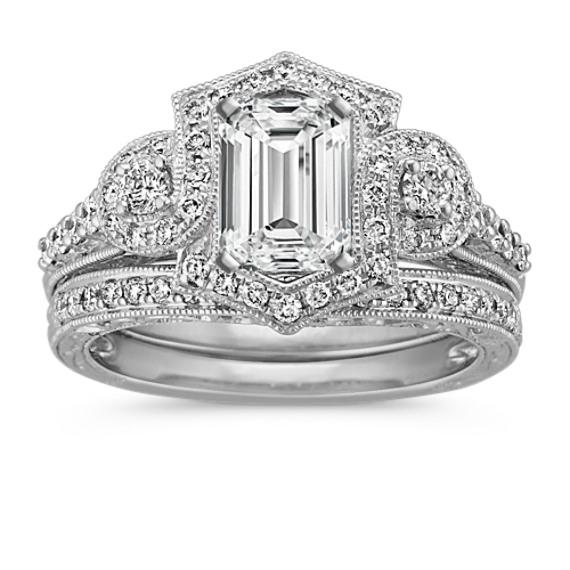 Frame Halo Platinum Wedding Set with Round Diamond Accent