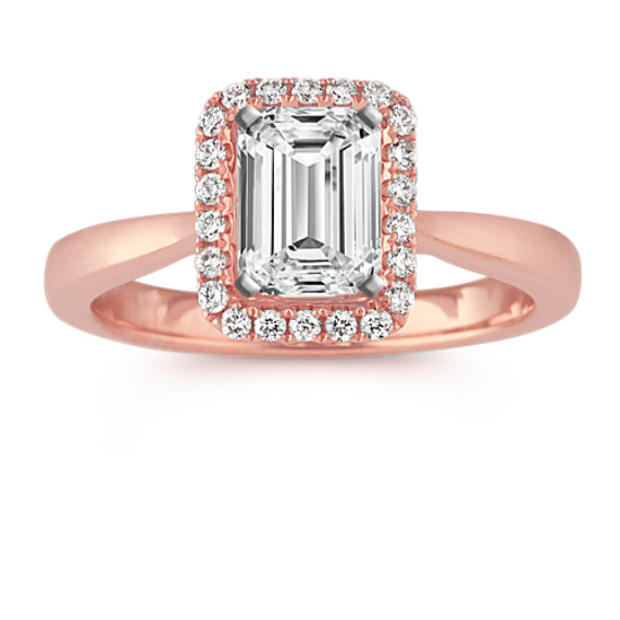 Round Diamond Emerald Cut Halo Engagement Ring in 14k Rose Gold