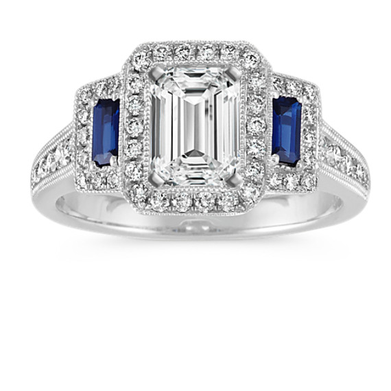 Emerald Cut Vintage Halo Engagement Ring with Sapphire and Diamond Accent