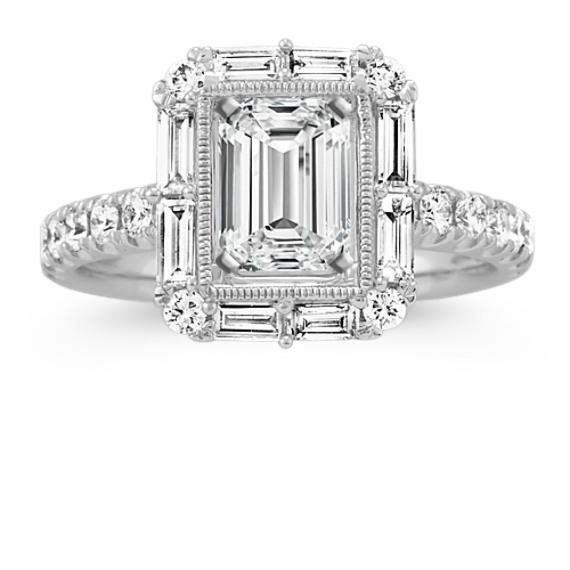 Diamond Engagement Ring for Emerald Cut Gemstone