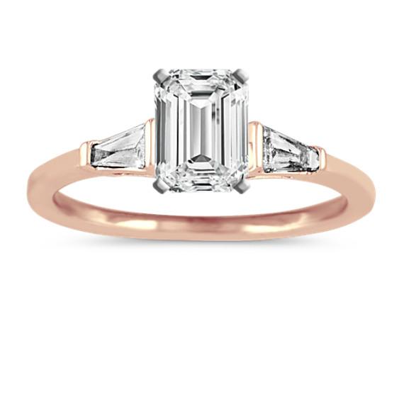 Baguette Diamond Engagement Ring in 14k Rose Gold