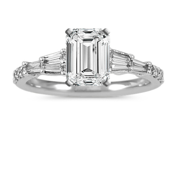 Classic Baguette and Round Diamond Engagement Ring