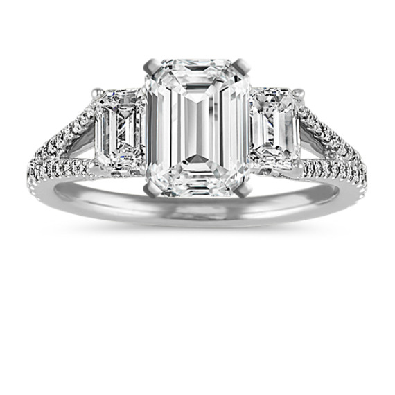Emerald Cut and Round Diamond Engagement Ring