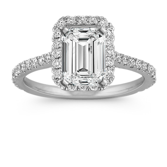 Halo Diamond Engagement Ring for 1.50 Carat Emerald Cut