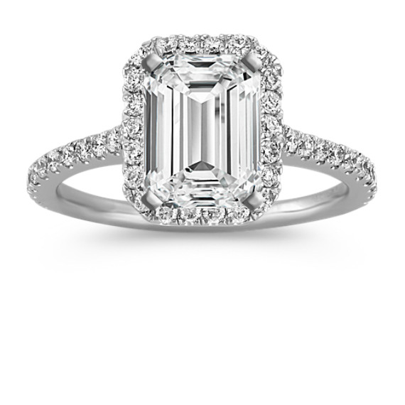 Halo Diamond Engagement Ring for 2.00 Carat Emerald Cut