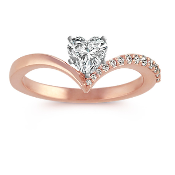 Diamond Ring for Heart-Shaped Gemstone in 14k Rose Gold