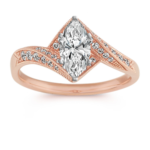 Round Diamond Vintage Ring in 14k Rose Gold