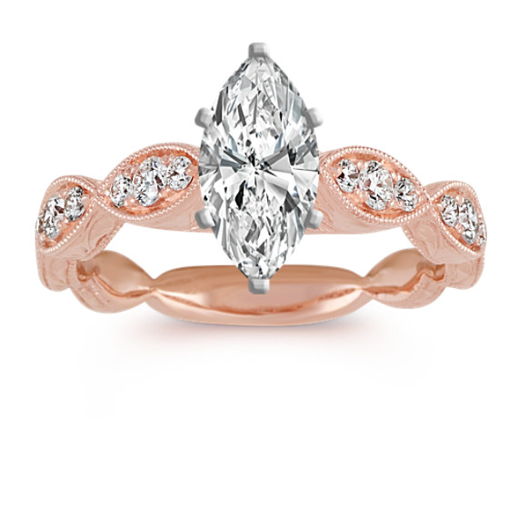 Vintage Diamond Engagement Ring in 14k Rose Gold