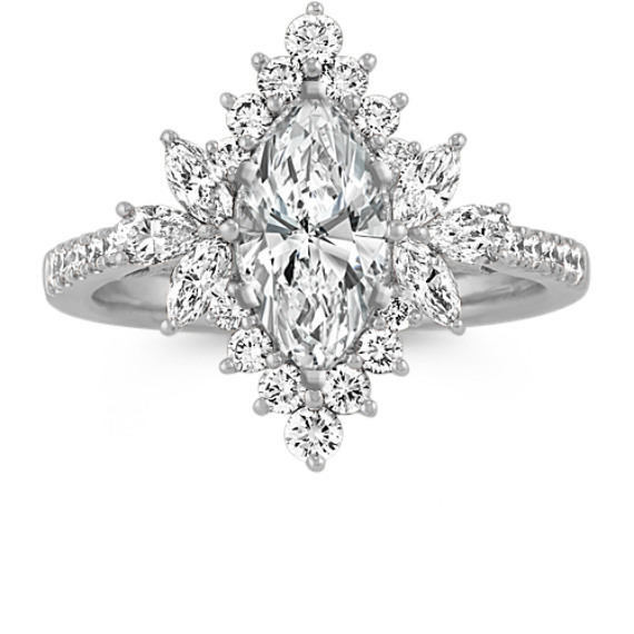 Marquise, Pear-Shaped and Round Diamond Halo Engagement Ring