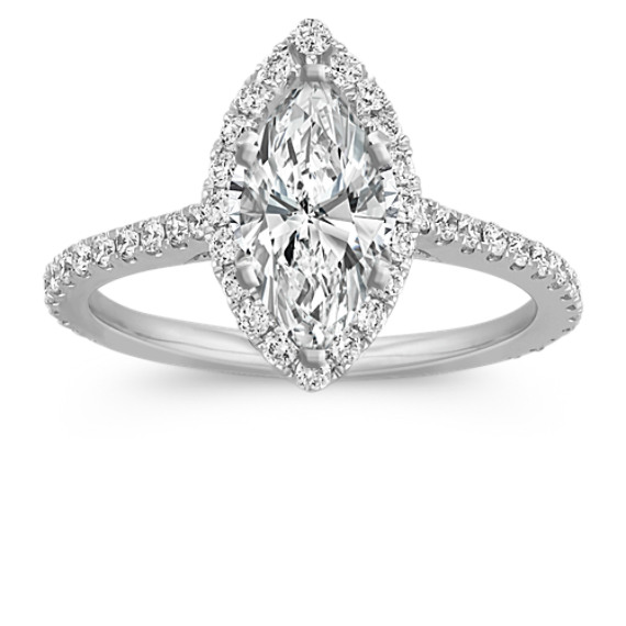 Halo Diamond Engagement Ring for 1.00 Carat Marquise
