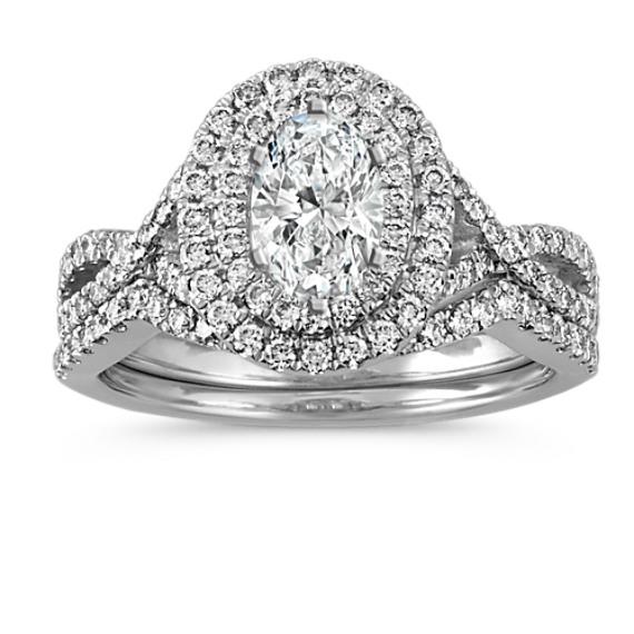 Diamond Double Oval Halo Platinum Wedding Set