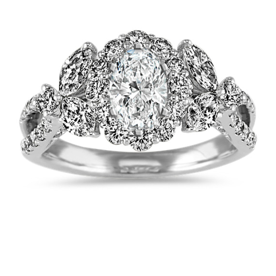 Marquise and Round Diamond Halo Engagement Ring