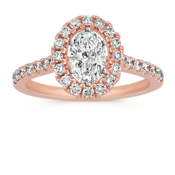 Oval Halo Engagement Ring in 14k Rose Gold with Round Diamond Accents