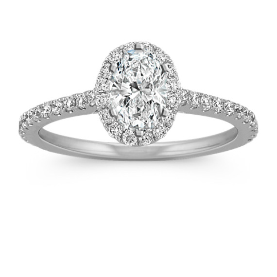 Halo Diamond Engagement Ring For 0 75 Carat Oval Shane Co