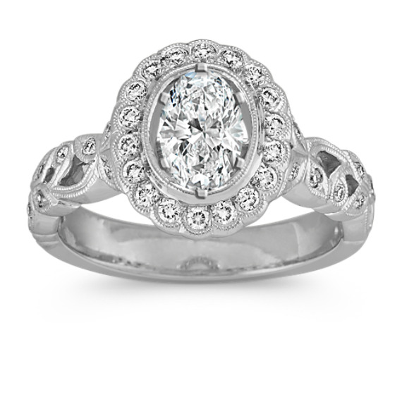 Oval Floral Halo Vintage Diamond Engagement Ring