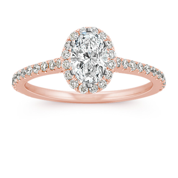Halo Diamond Engagement Ring for 0.75 Carat Oval in 14k Rose Gold