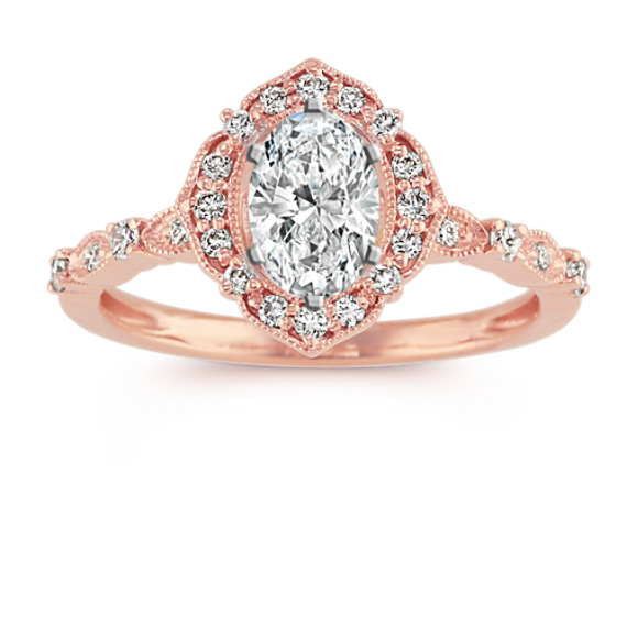 Vintage Oval Halo Diamond Engagement Ring In 14k Rose Gold