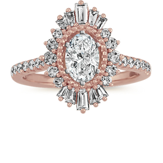 Baguette and Round Diamond Halo Engagement Ring