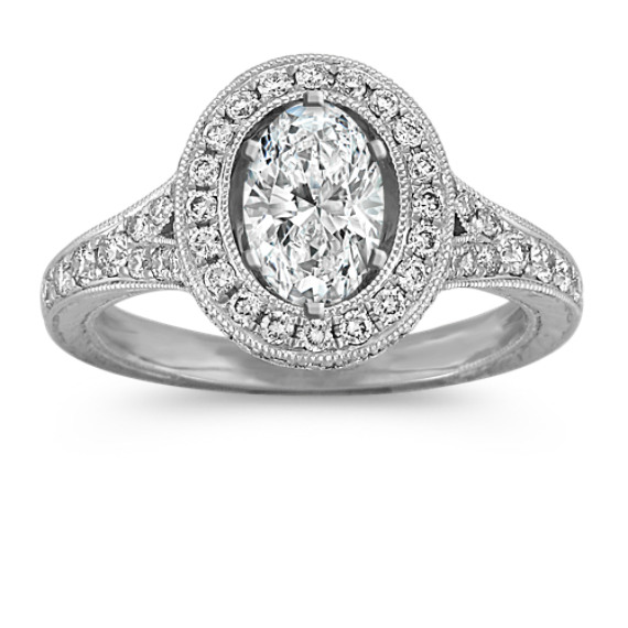 Oval Halo Platinum Engagement Ring with Diamond Accent and Split Shank