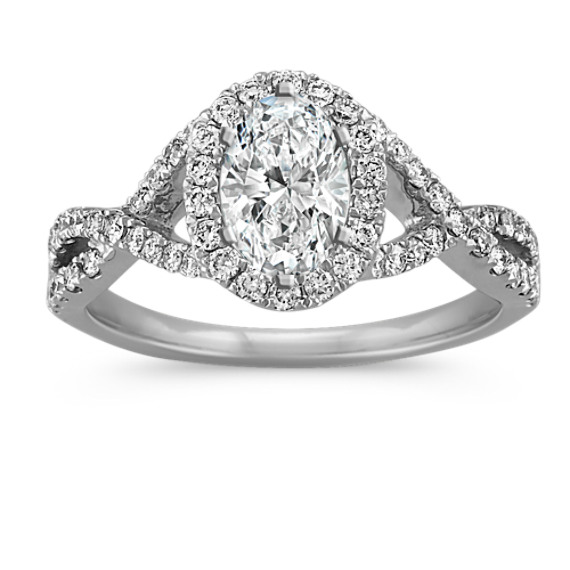 Oval Halo Infinity Engagement Ring with Round Diamonds