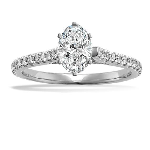 Pave-Set Round Diamond Engagement Ring in 14k White Gold