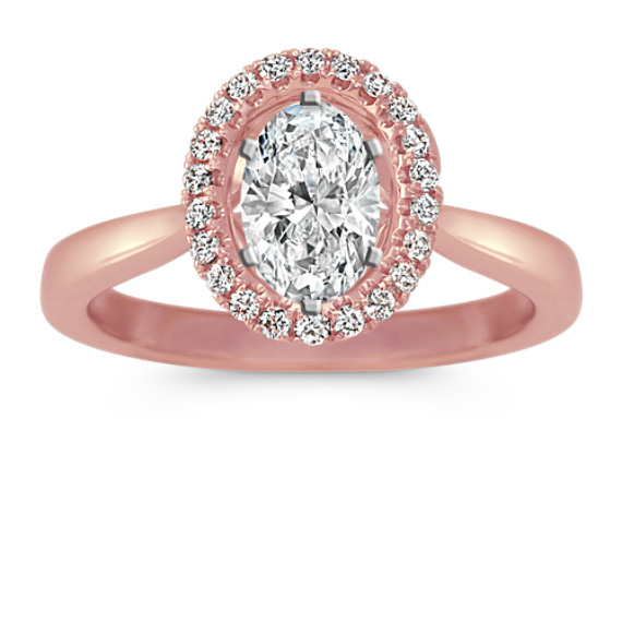 Oval Halo Diamond Engagement Ring 14k Rose Gold