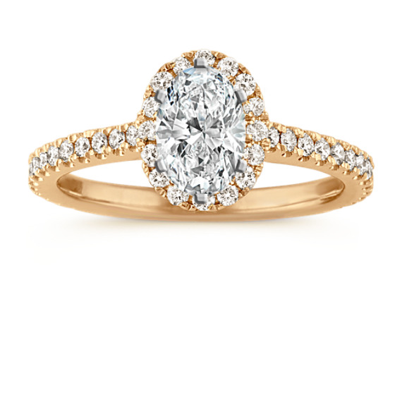 Oval-Shaped Halo Diamond Engagement Ring