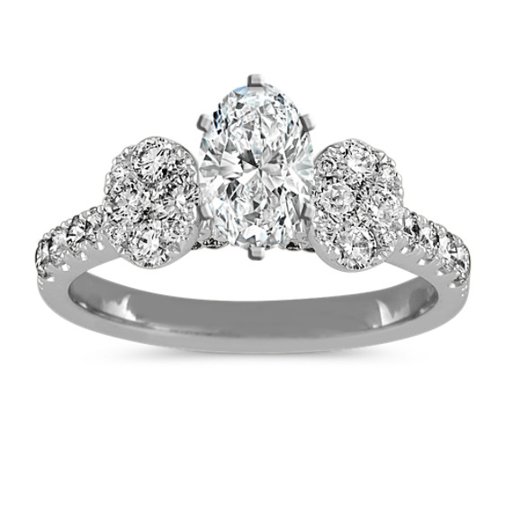 Diamond Cluster Engagement Ring in 14k White Gold