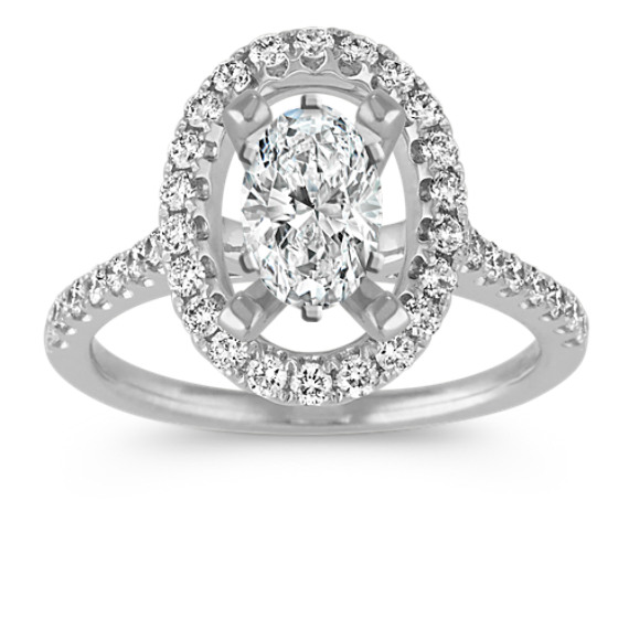 Round Diamond Oval Halo Engagement Ring in 14k White Gold