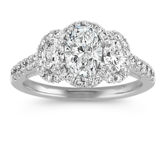 Three-Stone Halo Oval and Round Diamond Engagement Ring