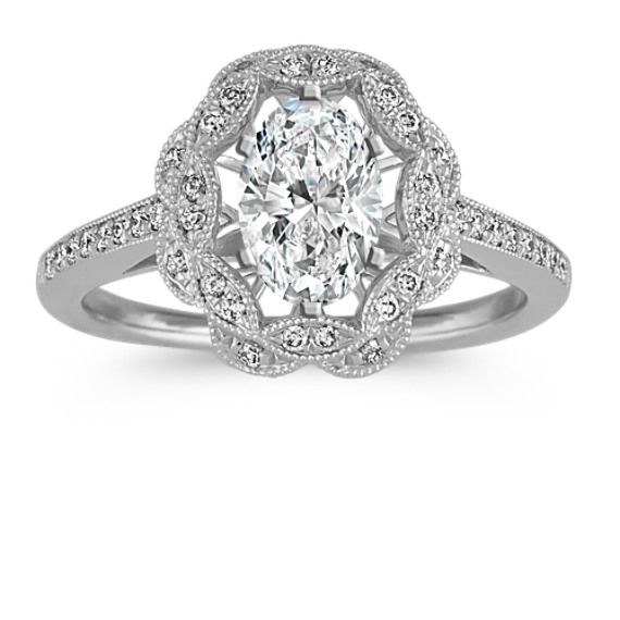 Vintage Halo Diamond Engagement Ring