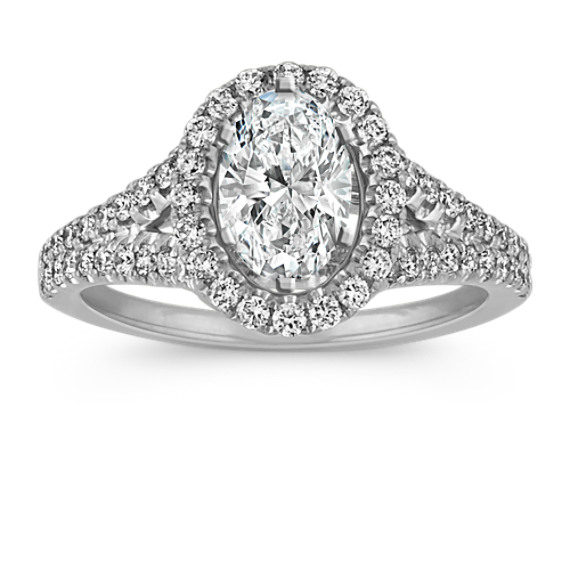 Oval Halo Split Shank Diamond Engagement Ring
