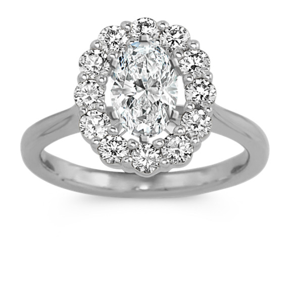 Diamond Oval Halo Engagement Ring in 14k White Gold