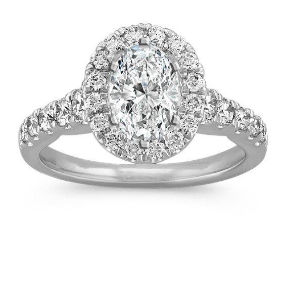Oval Halo Engagement Ring with Round Diamond Accents in Platinum
