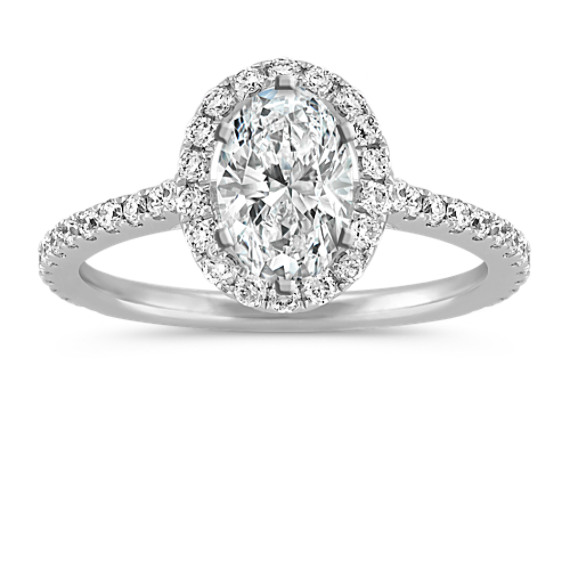 Halo Diamond Engagement Ring for 1.50 Carat Oval