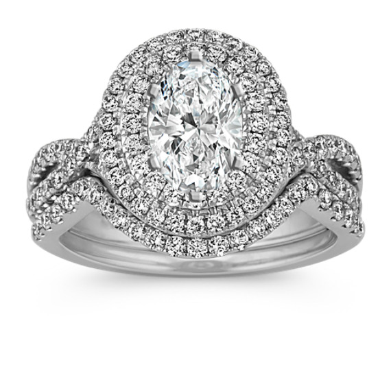 Oval Halo Infinity Wedding Set with Round Diamond Accent