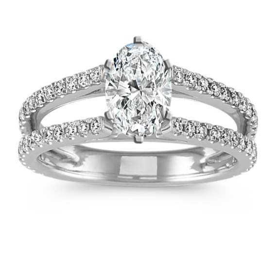 Cathedral Diamond Double Row Engagement Ring