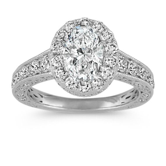 Vintage Oval Halo Diamond Engagement Ring in 14k White Gold