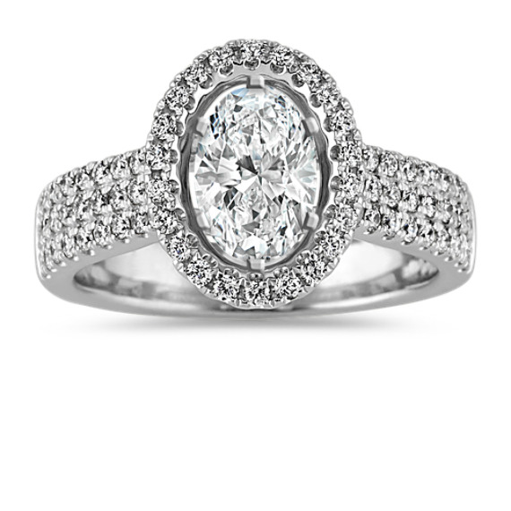 Pave-Set Diamond Halo Engagement Ring in Platinum